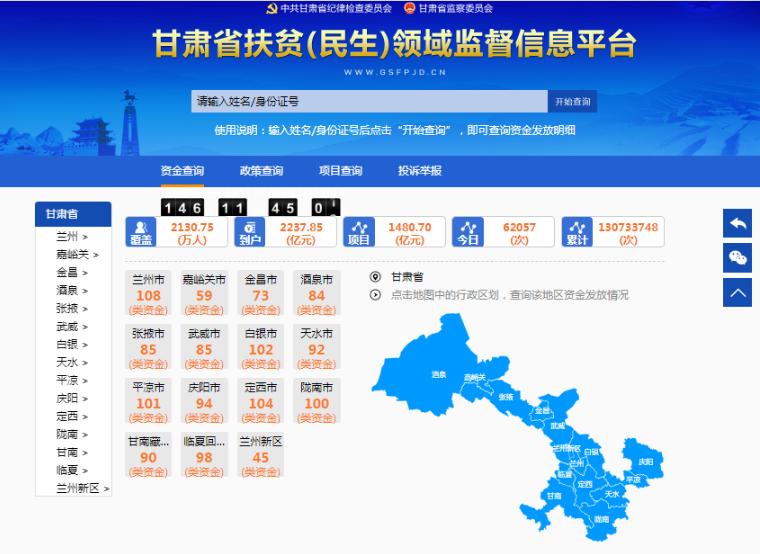 甘肃省扶贫(民生)领域监督信息平台开通一年公示资金2200亿元